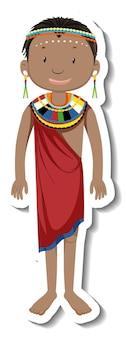 Pegatina personaje de dibujos animados de mujer tribal africana