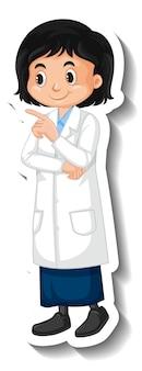 Pegatina de personaje de dibujos animados de niña estudiante científico