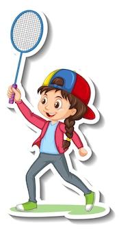 Pegatina de personaje de dibujos animados con una niña jugando al bádminton