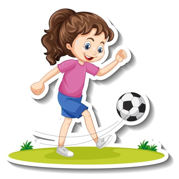 Pegatina de personaje de dibujos animados con una niña jugando al fútbol