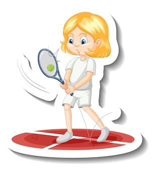 Pegatina de personaje de dibujos animados de una niña jugando al tenis