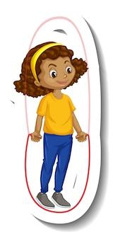 Pegatina de personaje de dibujos animados de una niña saltando la cuerda