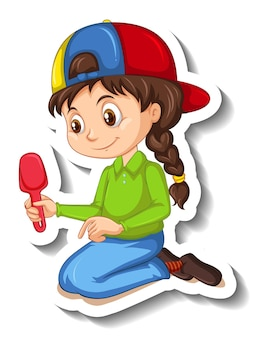Pegatina de personaje de dibujos animados de una niña sosteniendo una pala