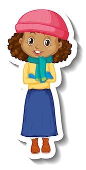 Pegatina de personaje de dibujos animados de una niña en traje de invierno