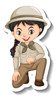 Pegatina de personaje de dibujos animados de niña en traje de safari
