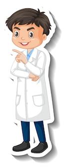 Pegatina de personaje de dibujos animados de niño estudiante científico