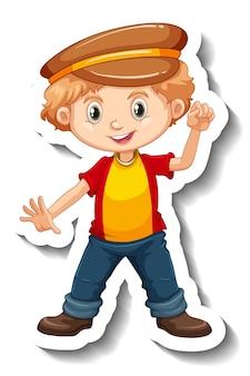 Pegatina de personaje de dibujos animados de un niño con sombrero