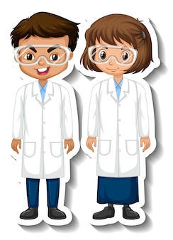 Pegatina de personaje de dibujos animados de niños de pareja de científicos