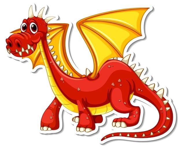 Pegatina personaje de dibujos animados red dragon