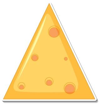 Pegatina de queso sobre fondo blanco.