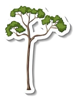 Pegatina solo árbol sobre fondo blanco.