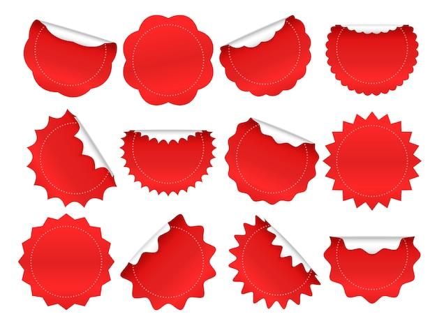 Pegatina starburst. el botón de ráfaga de estrella comercial, las etiquetas engomadas rojas de venta y las formas de estallido estelar provocan conjunto de marcos aislados