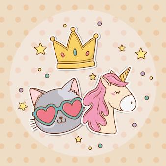 Pegatina de unicornio lindo estilo kawaii