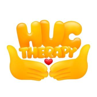 Pegatina web de terapia de abrazo con manos emoji amarillas.