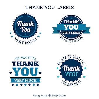 Pegatinas de agradecimiento azules