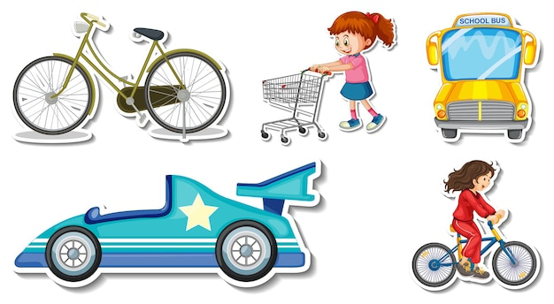 Pegatinas aleatorias con objetos transportables de vehículos.