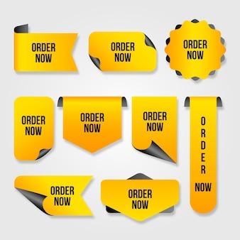 Pegatinas amarillas de promoción pedir ahora