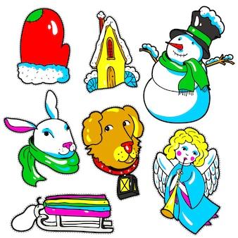 Pegatinas de año nuevo, pins, parches en dibujos animados de estilo cómic de los 80-90.