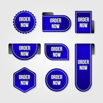 Pegatinas azules de promoción pedir ahora
