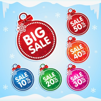 Pegatinas de bolas de navidad para la venta de vacaciones etiquetas de navidad para la venta de navidad con lazos de copos de nieve