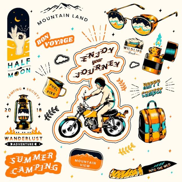 Pegatinas de camping de verano