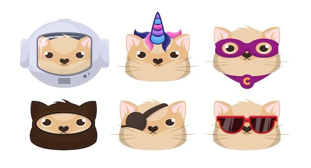 Pegatinas de cara de gatos graciosos.
