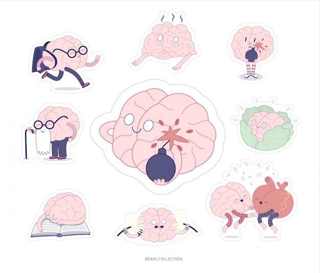 Pegatinas para el cerebro de la educación y el estrés para imprimir conjunto