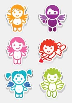 Pegatinas de colores iconos de conjunto de ángeles