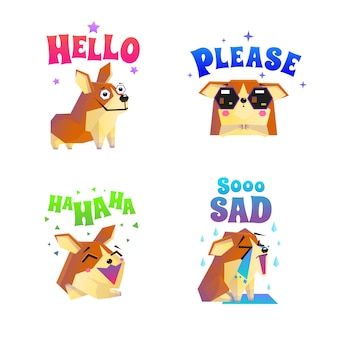 Pegatinas corgi emoticon set