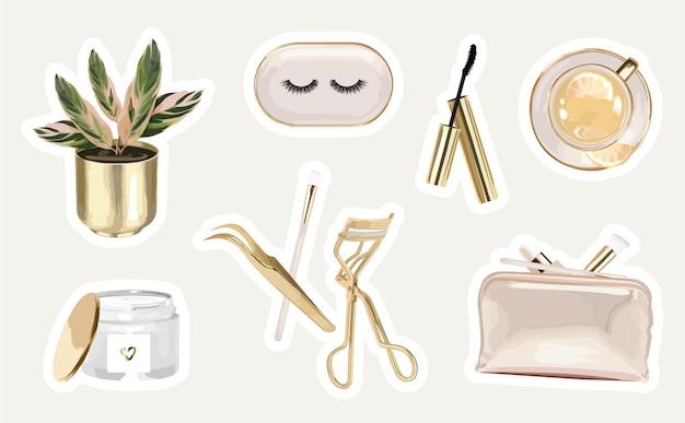 Pegatinas cosméticas con herramientas de extensión de pestañas y objetos modernos.