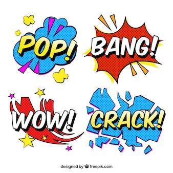 Pegatinas de palabras con diseño pop art