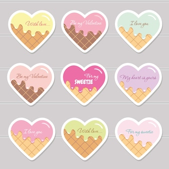 Pegatinas del día de san valentín. corazones de dibujos animados