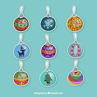 Pegatinas dibujadas a mano de bolas de navidad
