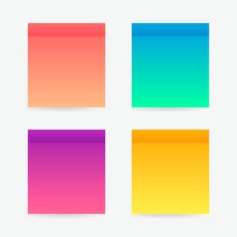 Pegatinas de diferentes colores post nota. cintas adhesivas con plantilla de sombra. publicar nota de papel. coloque cualquier texto en él
