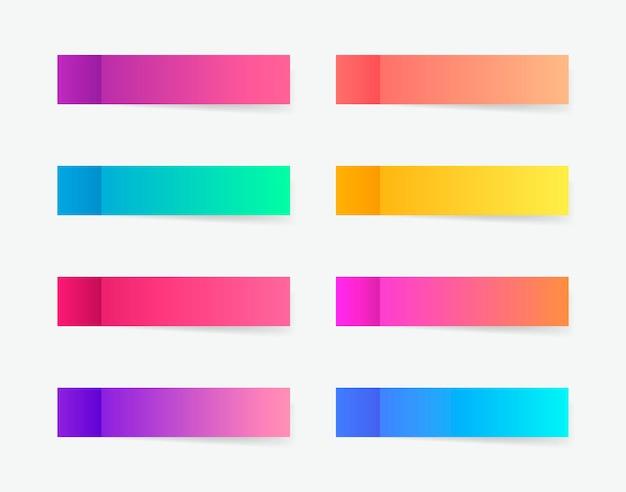 Pegatinas de diferentes colores post nota. cintas adhesivas con plantilla de sombra. publicar nota de papel.