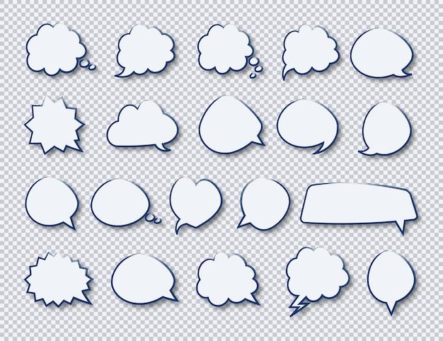 Pegatinas de discurso mano dibujar burbujas conjunto