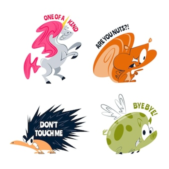 Pegatinas divertidas de animales de dibujos animados retro