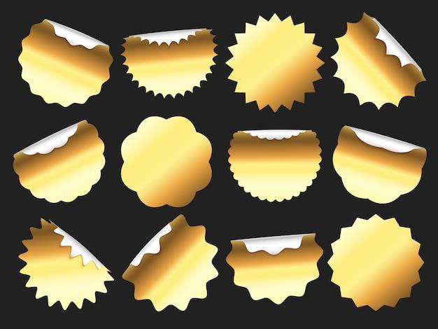Pegatinas doradas, pancarta de etiqueta de venta dorada, insignia de etiqueta adhesiva y juego de pegatinas de calidad premium