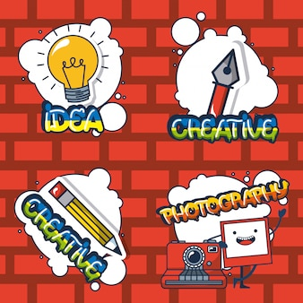 Pegatinas de elementos creativos