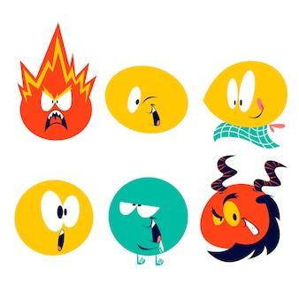 Pegatinas de emoticonos de dibujos animados retro