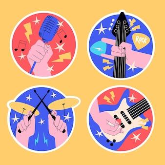 Pegatinas de estrellas de rock ingenuas y música en vivo