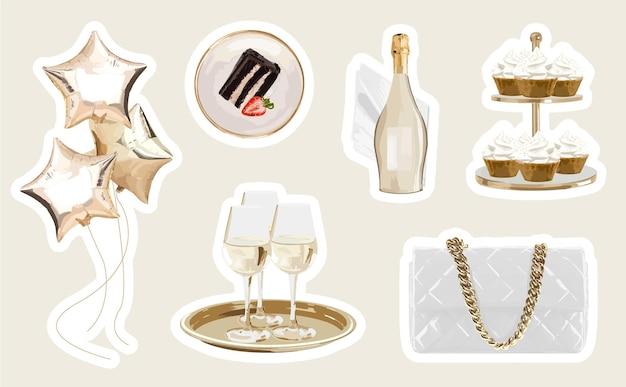Pegatinas de fiesta femeninas con globos, cupcakes de champán y objetos modernos.