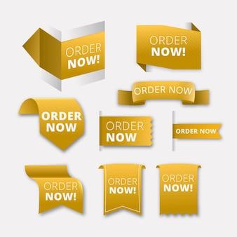 Pegatinas de formas amarillas de promoción pedido ahora