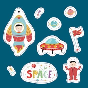 Pegatinas de formas variadas con dibujos animados espaciales