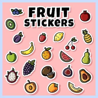 Pegatinas de frutas de colores en conjunto. colección de iconos planos de frutas