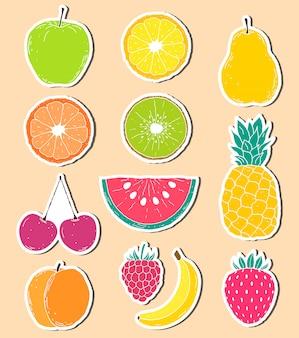 Pegatinas de frutas dibujadas a mano