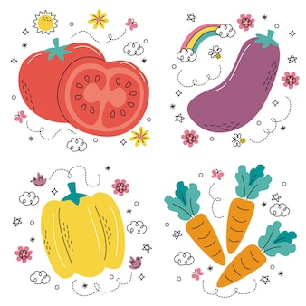 Pegatinas de frutas y verduras dibujadas a mano