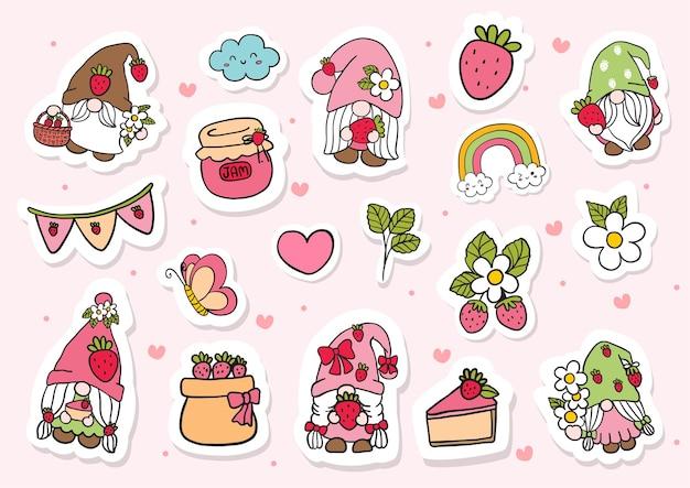 Pegatinas gnomos de fresa acuarela
