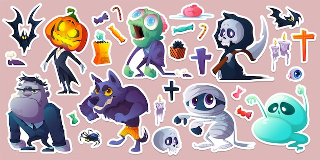 Pegatinas de halloween con caramelos monstruos murciélagos