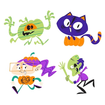 Pegatinas de halloween de dibujos animados retro